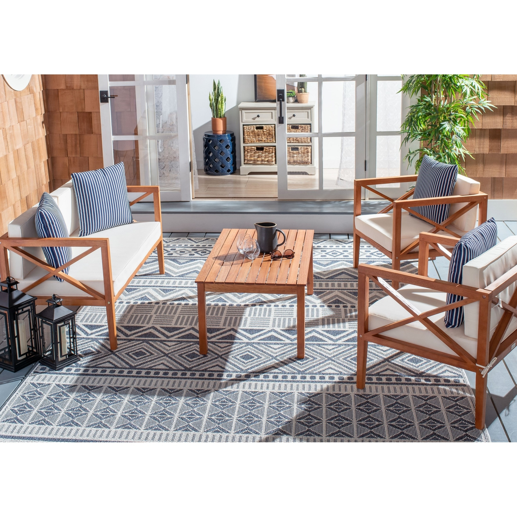 Safavieh Outdoor Living Montez 4 Piece Set with Accent | eBay on Safavieh Outdoor Living Montez 4 Piece Set id=67878