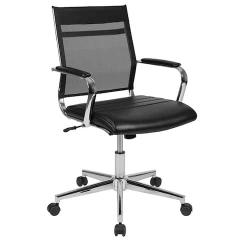Offex Mid-Back Black Mesh Contemporary Executive Swivel Office Chair with LeatherSoft Seat