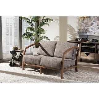 Baxton Studio Velda Modern and Contemporary Walnut Brown Wood and Gravel Multi Color Fabric 2-Seater Loveseat