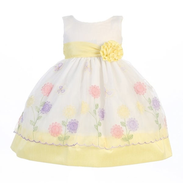 Shop Little Girls Yellow Organza Poly Silk Trims Flower