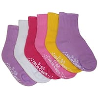 NICE CAPS Big And Little Girls Cotton/Spandex Casual Crew Sock 6PC Pack - white/pink/lavender/yellow/fuchsia pack