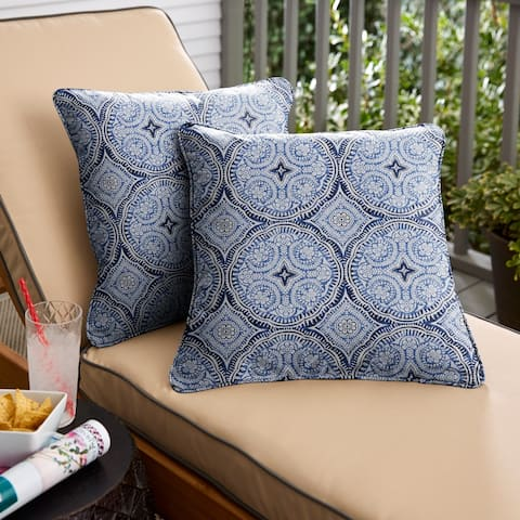 Blue Medallion Corded Square Pillows (Set of 2) by Havenside Home