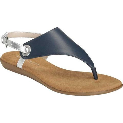 75eb1d5bd1 Aerosoles Women's In Conchlusion Thong Sandal Navy Leather/Faux Leather