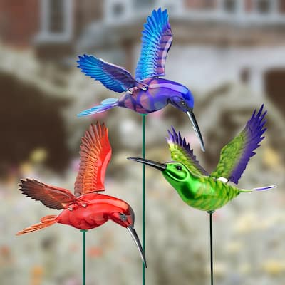 """Exhart 6 Piece 4"""" WindyWings Hummingbird Plant Stake Assortment, 6.5 x 4 x 15.5 Inches"""