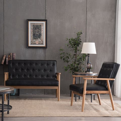 "Global Pronex PU Leather Sofa Recliner Sofa Bench for Living Room & Bedroom (Black) - 49.61"" x 27.95"" x 33.07"""