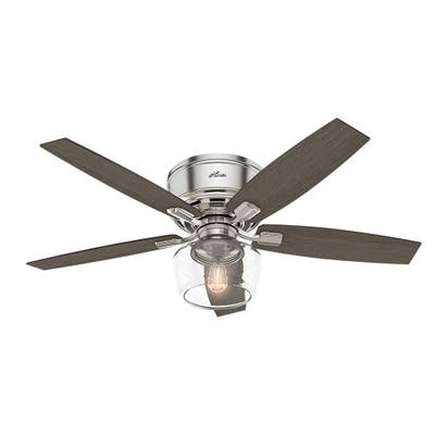 """Hunter 52"""" Bennett Low Profile Ceiling Fan with Globe LED Light Kit and Handheld Remote"""