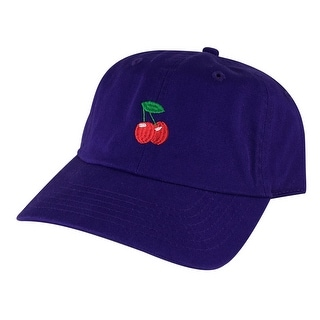 Cherry Unstructured Strapback Hat Cap by Caprobot - Purple Red
