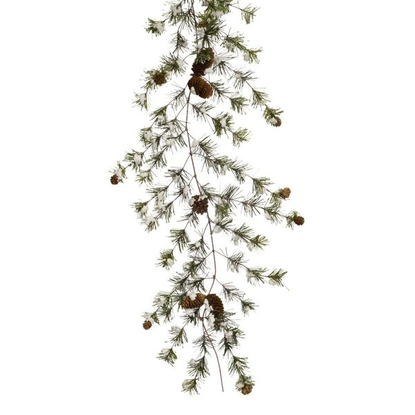 Pack of 4 Artificial Snowy Pine Cone Garland with Baby Pine Cones 6' - green