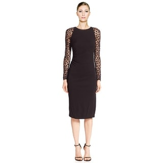 David Meister Long Sheer Sleeve Jersey Cocktail Dress - 12
