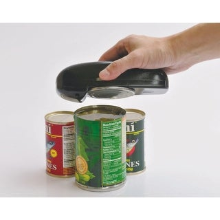Electric Hand Held Button Can Opener - Run on 2 AA Batteries