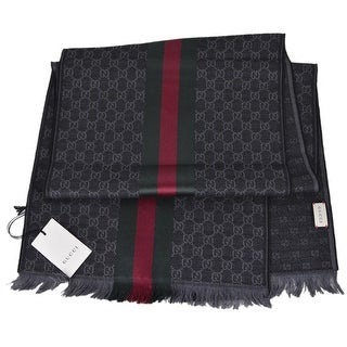 "Gucci Wool Silk Jacquard Grey GG Guccissima Red Green Web Scarf Muffler - 71"" x 14"""