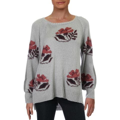 Willow & Clay Womens Pullover Sweater Ribbed Trim Floral Print - Silver