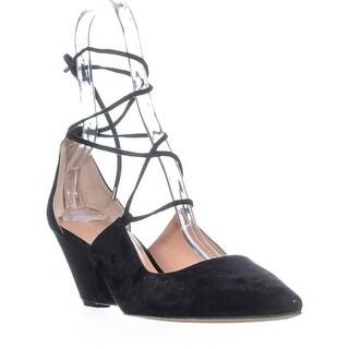 Ivanka Trump Tropica Lace Up Pointed Toe Ballet Flats, Black