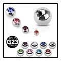 {Clear} 10 Pieces Pack of Grade 23 Titanium Threaded Gem Ball Package - 16GA (4mm Ball) - Clear - Thumbnail 0