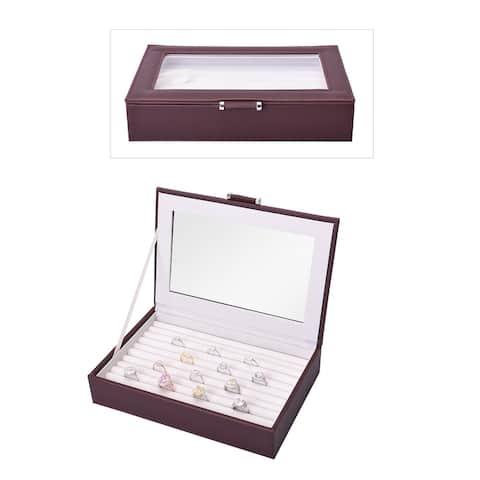 Faux Leather Ring Box Trinket Organizer Storage with Glass Window