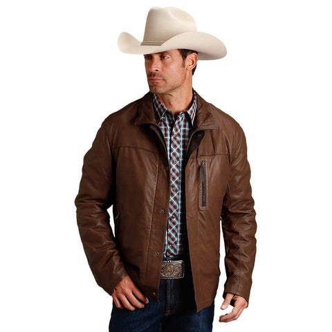 Stetson Western Jacket Men Leather Zip Lined Brown
