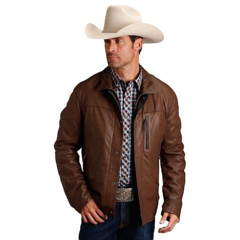 Stetson Western Jacket Men Leather Zip Lined Brown