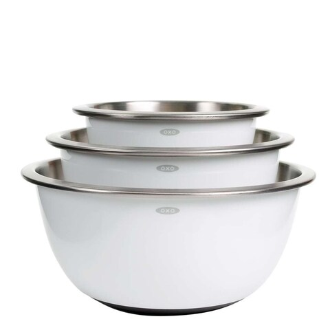 OXO Good Grips 3-Piece Stainless-Steel Mixing Bowl Set (White)