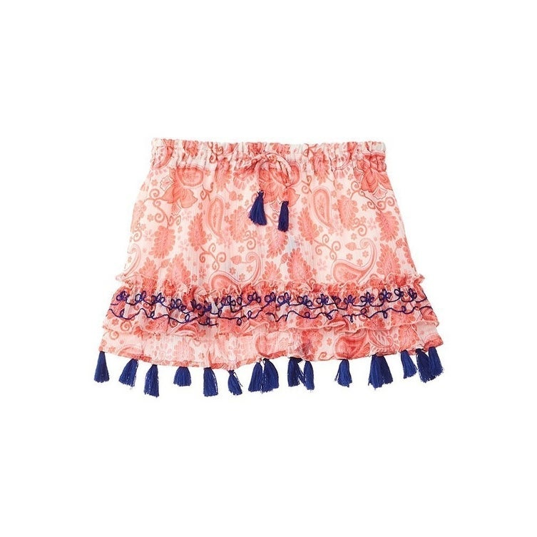 Azul Little Girls Pink Birthday Cake Off-Sholuder Embroidered Crop Top 2T-7