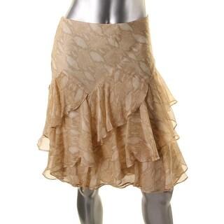 Lauren Ralph Lauren Womens Chiffon Snake Print Tiered Skirt