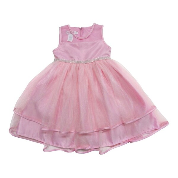 Baby Girls Pink Organza Illusion Neckline Rhinestone Flower Girl Dress