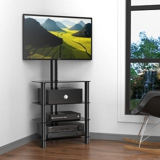 """FITUEYES TV Entertainment Center Stand with Mount for 32""""-50"""" Flat Curved TV TW406001MB"""