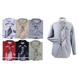 Men's Patch Strip Cotton Shirt Tie Cufflink Set
