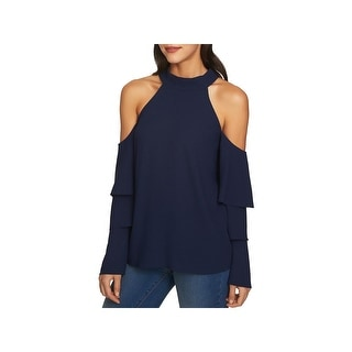 1.State Womens Blouse Cold Shoulder Tiered