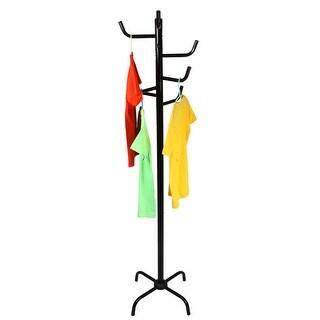 VECELO Furniture Black 8 Hook Metal Coat Hat Umbrella Clothes Rack Holder Hanger Tree