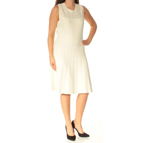 ANNE KLEIN Womens Ivory Sleeveless Jewel Neck Below The Knee Fit + Flare Dress Size: S