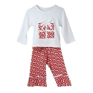 Little Girls White Red Polka Dots Boutique Christmas Pant Outfit Set 12M-6