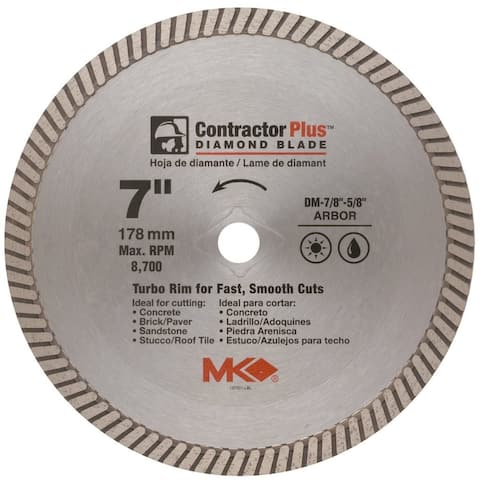 """MK Diamond 167001 Contractor Plus Turbo Rim Diamond Blade, 7"""""""