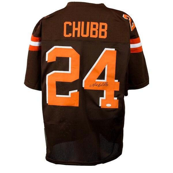 factory price 25b54 efd3c Shop Nick Chubb Signed Brown Custom Pro-Style Football ...