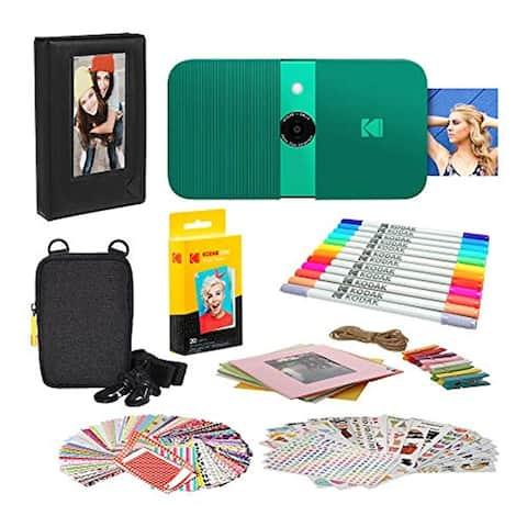 KODAK Smile Instant Print Digital Camera (Green) Photo Frames Bundle with Soft Case