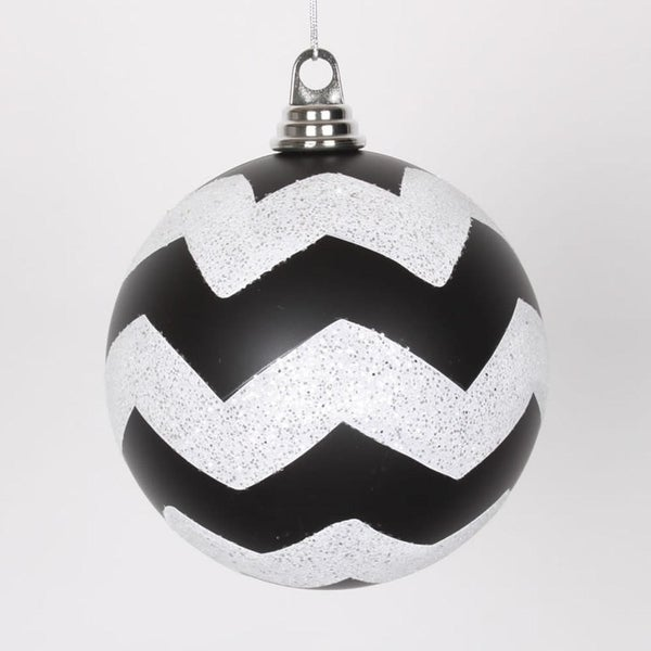 "Black Matte with White Glitter Chevron Christmas Ball Ornaments 6"" (150mm)"