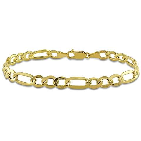 Miadora 10k Yellow Gold Men's Figaro Chain Link Bracelet - 9 in x 7 mm