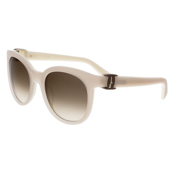 c201e60b132 Shop Salvatore Ferragamo SF783 S 107 Ice Round Sunglasses - Grey ...