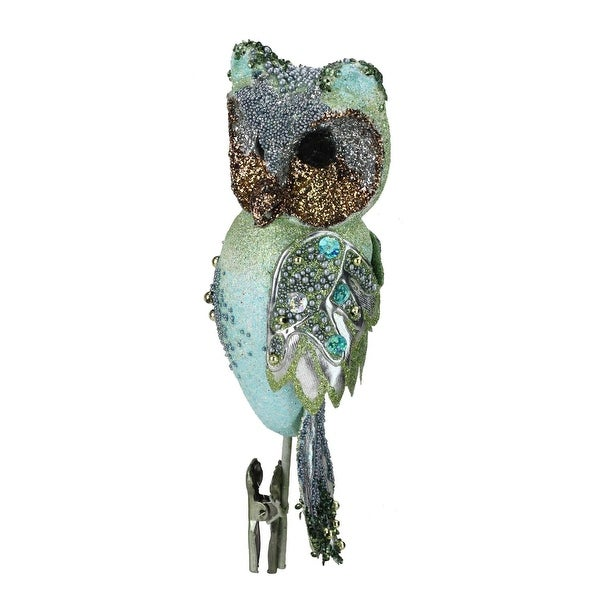 "10"" In the Birches Green Glittered and Sequined Owl Clip-On Christmas Ornament - BLue"