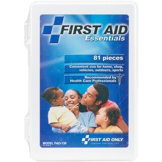 First Aid Essentials Kit-White Plastic Case W/81 Pieces