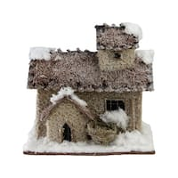"""9.25"""" Rustic Two Story Snowy Cabin Christmas Decoration - brown"""