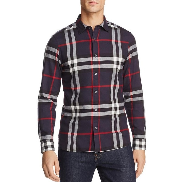 1ac3412c94e Shop Burberry Men s Salwick Flannel Blue Check Cuff Shirt - Free Shipping  Today - Overstock - 19781735