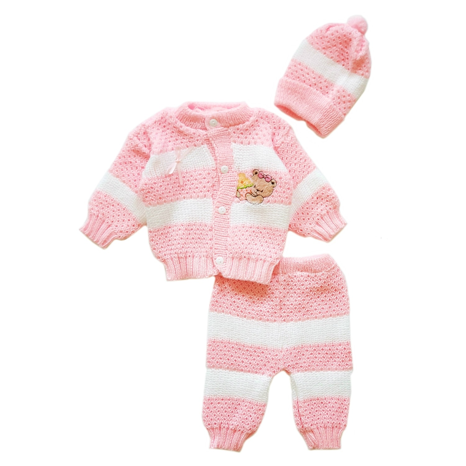 Machine Washable Size Newborn to three months. 3-piece crocheted Baby Pants with Soft Shoes and Beanie