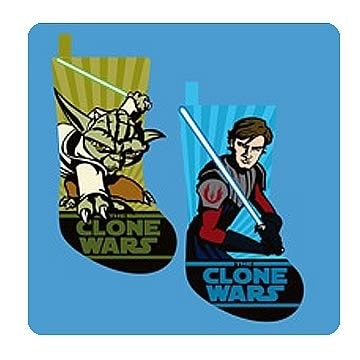 Star Wars Clone Wars Anakin and Yoda Applique Stocking Set