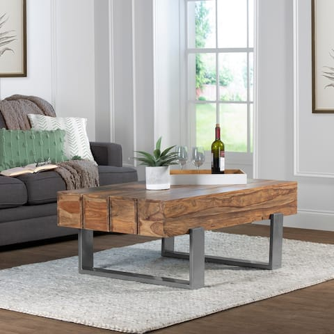 Hillsdale Furniture Hemlock Metal Coffee Table with Wood Top, Natural Sheesham - 18H x 46W x 30.5D