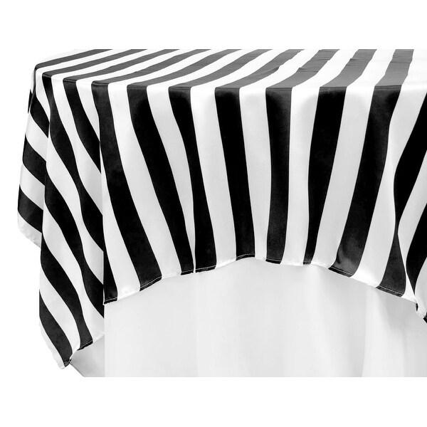 "12 Pieces, Stripe 90""x90"" Square Satin Table Overlay - Black & White"