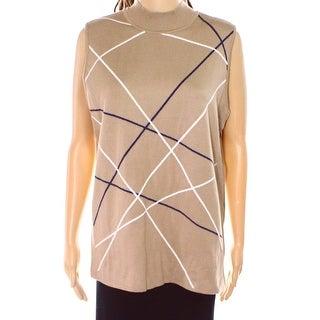Alfani NEW Beige Camel Women's Size XL Overlapping Lines Sweater Vest
