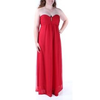 Womens Red Sleeveless FullLength Empire Waist Formal Dress Size: 4