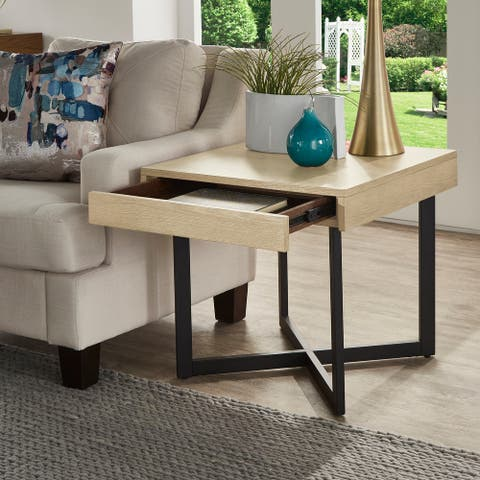 Eldersley Wood Finish End Table with One Drawer by iNSPIRE Q Modern