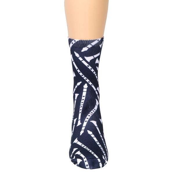 Living Royal Woman's Clarinet Socks - White Musical Instrument on Navy Blue