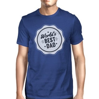 Worlds Best Dad Mens Blue Cotton T-Shirt Vintage Design Graphic Tee